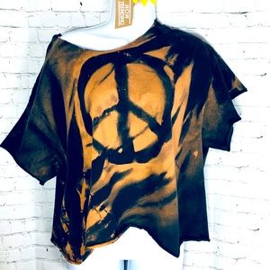 ☮️ Off The Shoulder Peace Sign Bleached Tee✌️